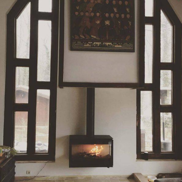 Poêle à bois 3 vitres suspendus Rocal