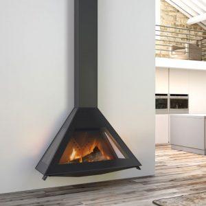 cheminée acier D10 suspendues 3 vitres de Rocal