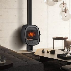 Oval, cheminée acier de Rocal option suspendue