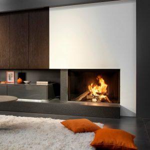 foyer à bois KALFIRE W100/61 F tres grand format escamotable fonctionnement en foyer ouvert
