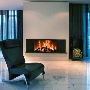 foyer à bois KALFIRE W105/47 F Panoramique tres grand format escamotable fonctionnement en foyer ouvert