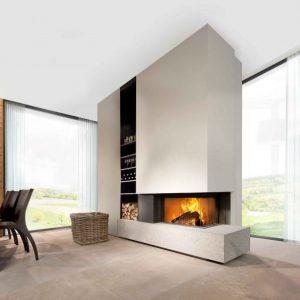 Foyer à bois Kalfire W65/38 C porte escamotable fonctionnement en foyer ouvert et fermé