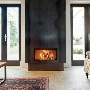 Foyer à bois Kalfire W70/33 F porte escamotable fonctionnement en foyer ouvert et fermé